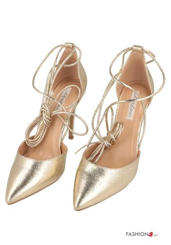 Heeled shoes  with strap Gold