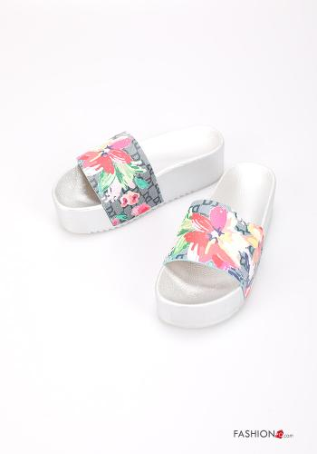 Slippers Floral print Silver
