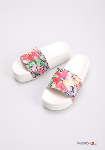 Slippers Floral print White