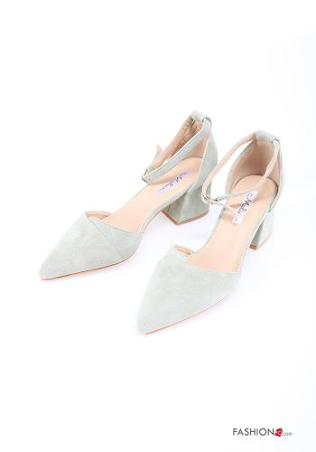 Heeled shoes  Suede with strap adjustable