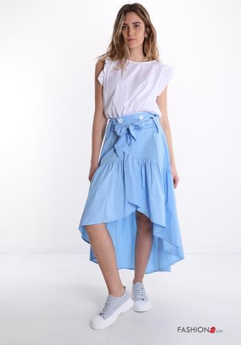 Skirt in Cotton  with flounces with buttons with bow