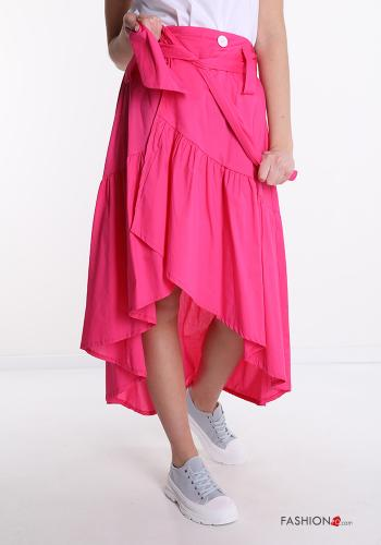 Skirt in Cotton  with flounces with buttons with bow Fucsia