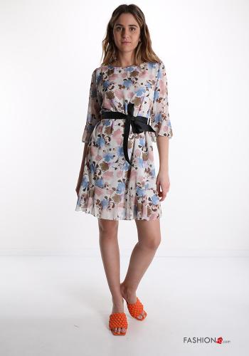 Dress  with ribbon Floral print Sky blue