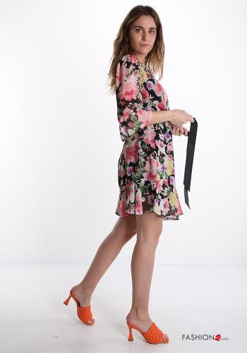 Dress  with ribbon Floral print Fucsia