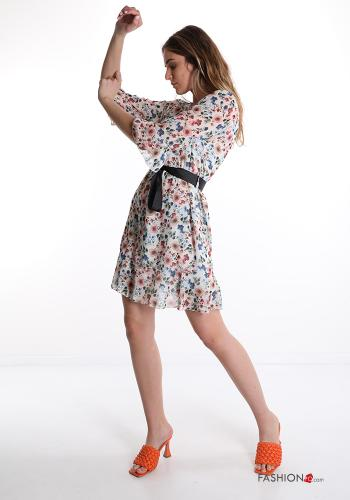 Dress  with ribbon Floral print White