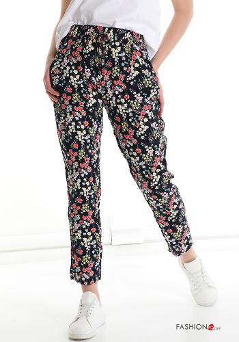 Trousers in Cotton  with pockets with strap Floral print Blue