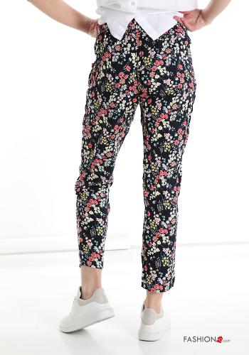 Trousers in Cotton  with pockets with strap Floral print
