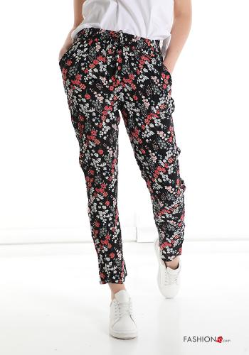 Trousers in Cotton  with pockets with strap Floral print Black