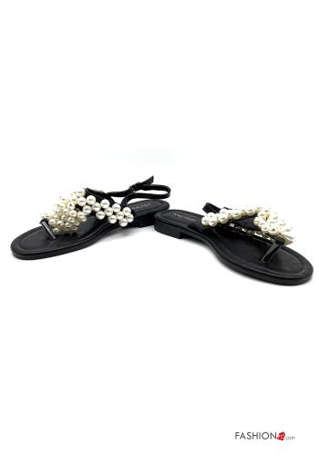 Sandals  with pearls with strap adjustable Black