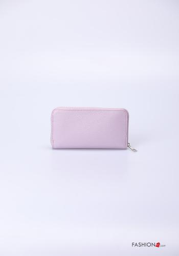 Wallet in Genuine Leather  with zip Lilac