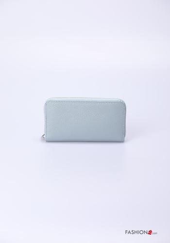 Wallet in Genuine Leather  with zip Sky blue