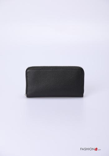 Wallet in Genuine Leather  with zip Black