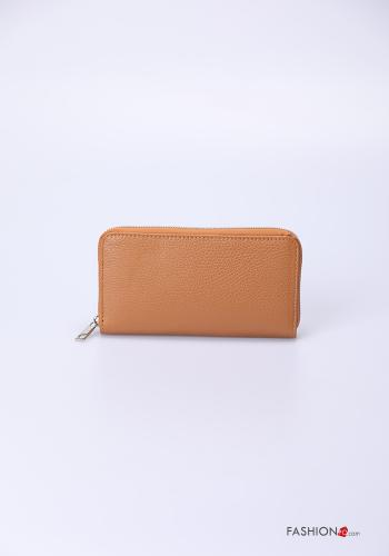 Wallet in Genuine Leather  with zip Earthenware colour