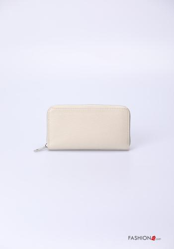 Wallet in Genuine Leather  with zip Cream colour