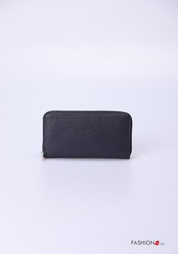 Wallet in Genuine Leather  with zip Blue