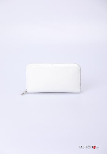 Wallet in Genuine Leather  with zip White