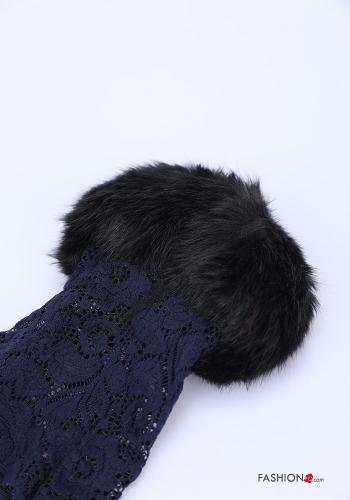 Sleeves in Cotton  lace with fur