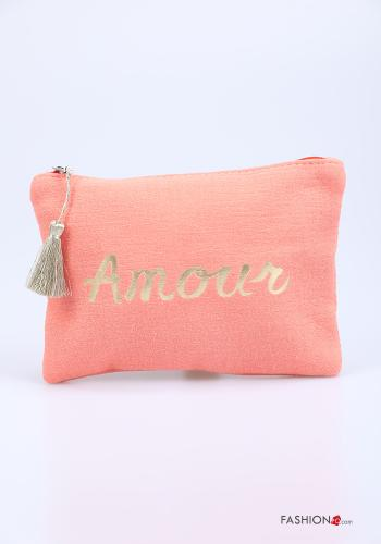 Purse in Cotton  with zip with fringes Written print