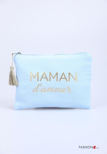 Purse in Cotton  with zip Written print
