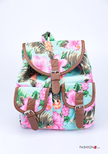 Backpack  with pockets with strap Floral print