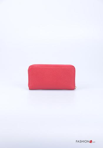 Wallet in Genuine Leather  with zip Red