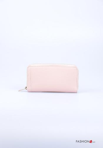 Wallet in Genuine Leather  with zip Light dusty pink