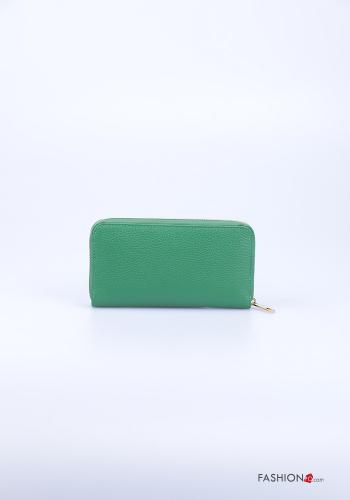 Wallet in Genuine Leather  with zip Emerald green