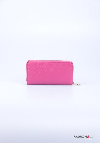 Wallet in Genuine Leather  with zip Fucsia