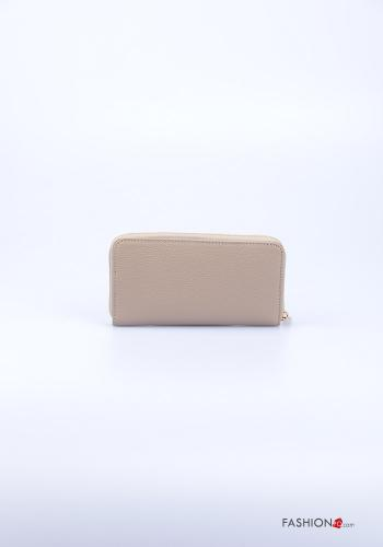 Wallet in Genuine Leather  with zip Beige