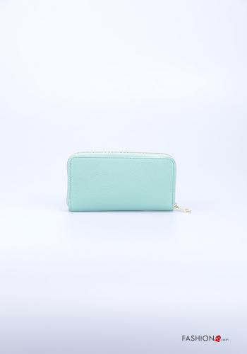Wallet in Genuine Leather  with zip Blue marine