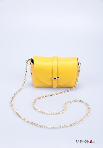Bag in Genuine Leather  with shoulder strap with strap Yellow