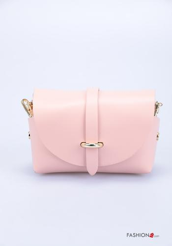 Bag in Genuine Leather  with shoulder strap with strap Pink
