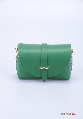 Bag in Genuine Leather  with shoulder strap with strap Emerald green