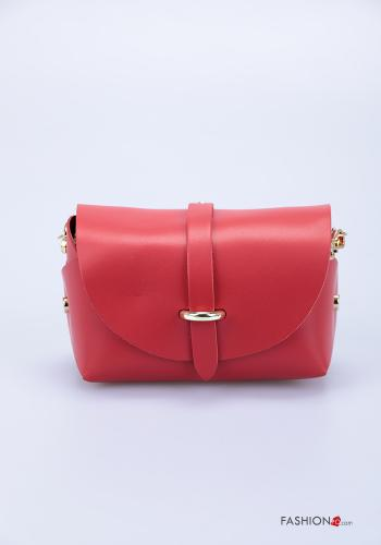Bag in Genuine Leather  with shoulder strap with strap Red