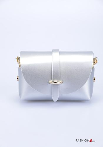 Bag in Genuine Leather  with shoulder strap with strap Silver