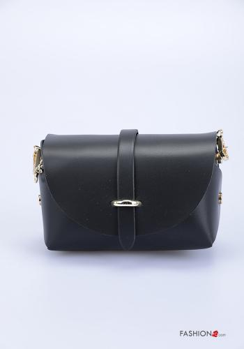 Bag in Genuine Leather  with shoulder strap with strap Black
