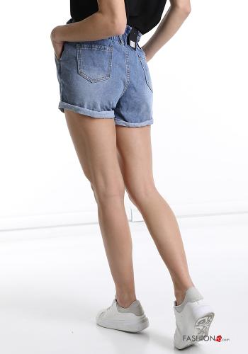 Shorts in Cotton  with pockets denim